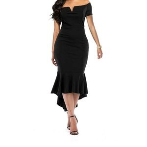 Black Mermaid Fishtail Dress
